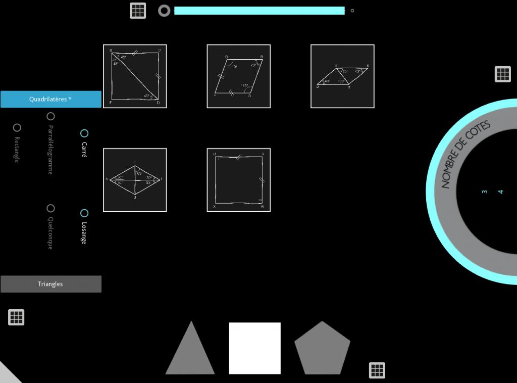 Série de photos d'écran de table tactile représentant des figures géométriques.