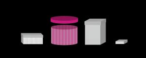 une boîte rose ouverte
