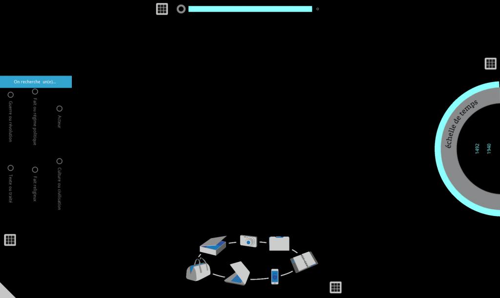 Puis une série de photos d'écran de table tactile en illustrent les différentes utilisations en situation concrète avant l'interface finale.