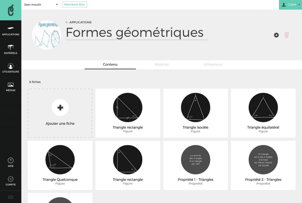Des fiches présentent des formes géométriques en aperçu des fiches et en sélections des supports, et des applications en sélection d'un corpus.