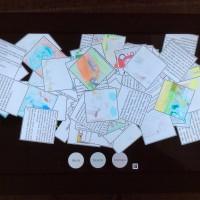 Photos d'écran de la table tactile d'un corpus trop volumineux (ensemble de fiches en vrac).