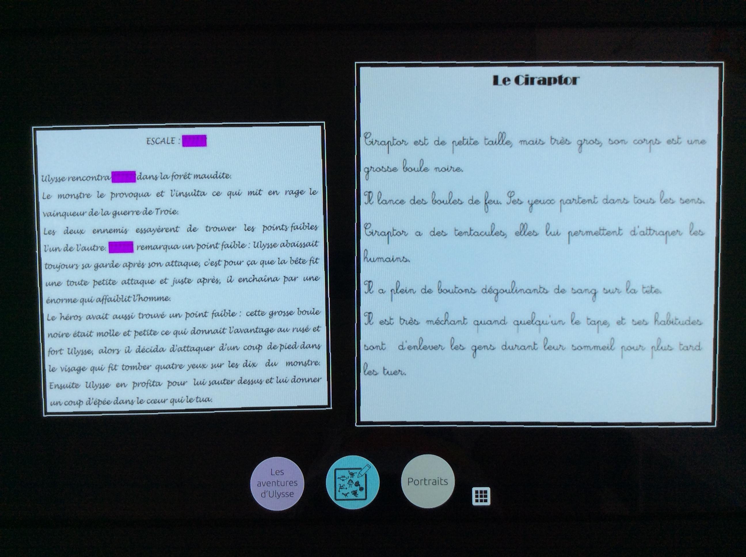 Photo de fiche collège à gauche et fiche école à droite sur l'écran d'une table tactile.