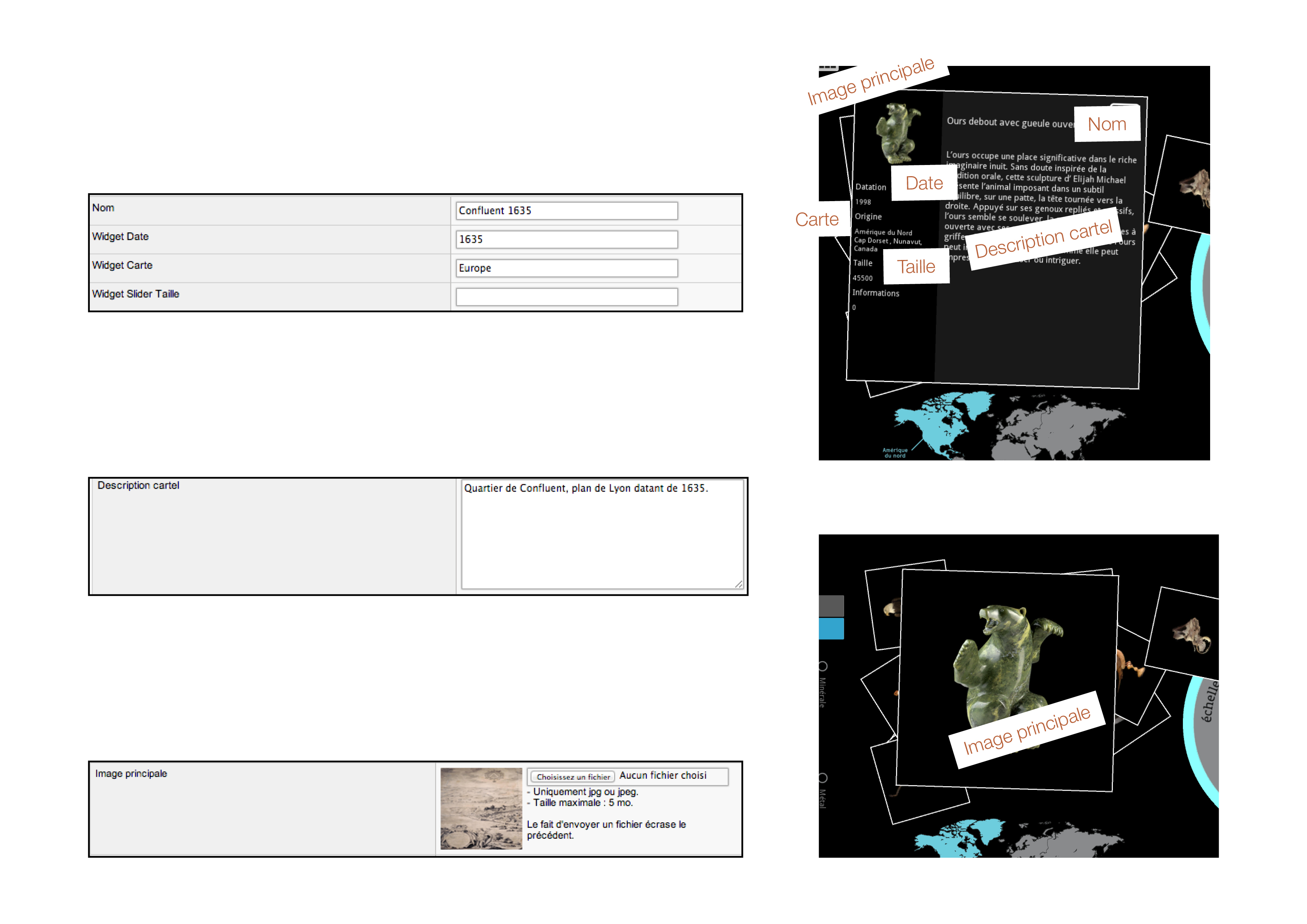 Image qui illustre les correspondances entre les champs du back-office et la fiche publée