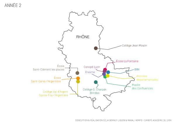 Cartographie des participants et partenaires au projet Educatouch en 2014-2015